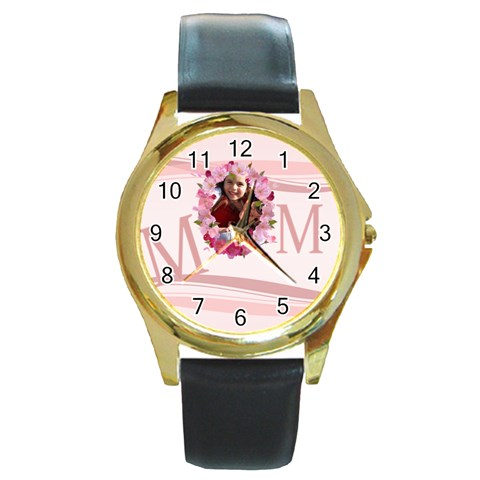 Mothers Day By Mom   Round Gold Metal Watch   Wl9pxxr6twdb   Www Artscow Com Front