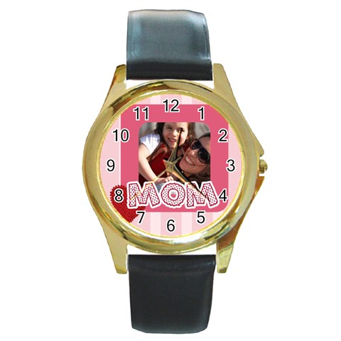 Mothers Day By Mom   Round Gold Metal Watch   Gxf4sosjq5rj   Www Artscow Com Front