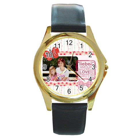 Mothers Day By Mom   Round Gold Metal Watch   4ilpdgxqtqdu   Www Artscow Com Front