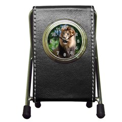 Regal Lion Stationery Holder Clock by AnimalLover