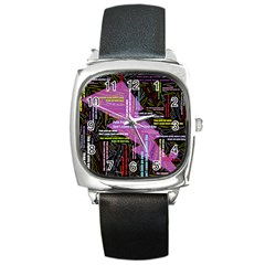 Pain Pain Go Away Square Leather Watch by FunWithFibro