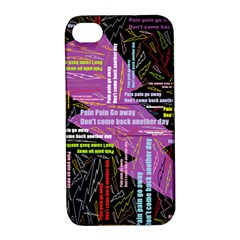 Pain Pain Go Away Apple Iphone 4/4s Hardshell Case With Stand by FunWithFibro
