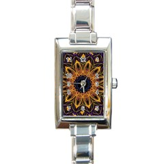 Yellow Purple Lotus Mandala Rectangular Italian Charm Watch by Zandiepants
