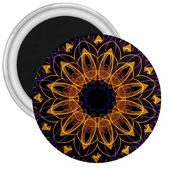 Yellow Purple Lotus Mandala 3  Button Magnet by Zandiepants