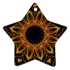 Yellow Purple Lotus Mandala Star Ornament by Zandiepants