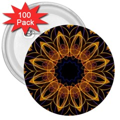 Yellow Purple Lotus Mandala 3  Button (100 Pack) by Zandiepants