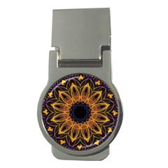 Yellow Purple Lotus Mandala Money Clip (round) by Zandiepants