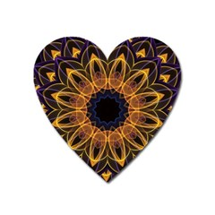 Yellow Purple Lotus Mandala Magnet (heart) by Zandiepants
