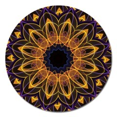 Yellow Purple Lotus Mandala Magnet 5  (round) by Zandiepants