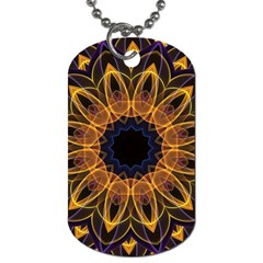 Yellow Purple Lotus Mandala Dog Tag (two Sided)  by Zandiepants