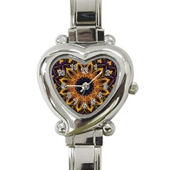 Yellow Purple Lotus Mandala Heart Italian Charm Watch  by Zandiepants