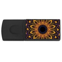 Yellow Purple Lotus Mandala 4gb Usb Flash Drive (rectangle) by Zandiepants