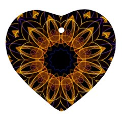 Yellow Purple Lotus Mandala Heart Ornament (two Sides) by Zandiepants