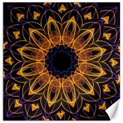 Yellow Purple Lotus Mandala Canvas 12  X 12  (unframed) by Zandiepants