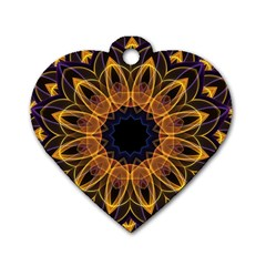 Yellow Purple Lotus Mandala Dog Tag Heart (one Sided)  by Zandiepants