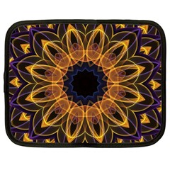 Yellow Purple Lotus Mandala Netbook Sleeve (xl) by Zandiepants