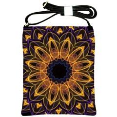 Yellow Purple Lotus Mandala Shoulder Sling Bag by Zandiepants