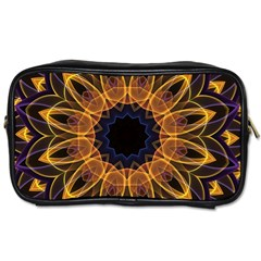 Yellow Purple Lotus Mandala Travel Toiletry Bag (one Side) by Zandiepants