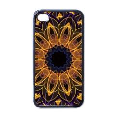 Yellow Purple Lotus Mandala Apple Iphone 4 Case (black) by Zandiepants