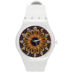 Yellow Purple Lotus Mandala Plastic Sport Watch (medium) by Zandiepants