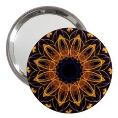 Yellow Purple Lotus Mandala 3  Handbag Mirror by Zandiepants