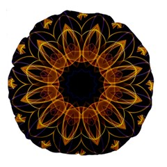 Yellow Purple Lotus Mandala 18  Premium Round Cushion  by Zandiepants