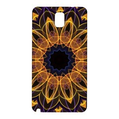 Yellow Purple Lotus Mandala Samsung Galaxy Note 3 N9005 Hardshell Back Case by Zandiepants