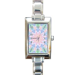 Soft Rainbow Star Mandala Rectangular Italian Charm Watch by Zandiepants