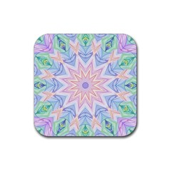 Soft Rainbow Star Mandala Drink Coaster (Square) by Zandiepants