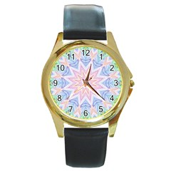 Soft Rainbow Star Mandala Round Leather Watch (gold Rim)  by Zandiepants