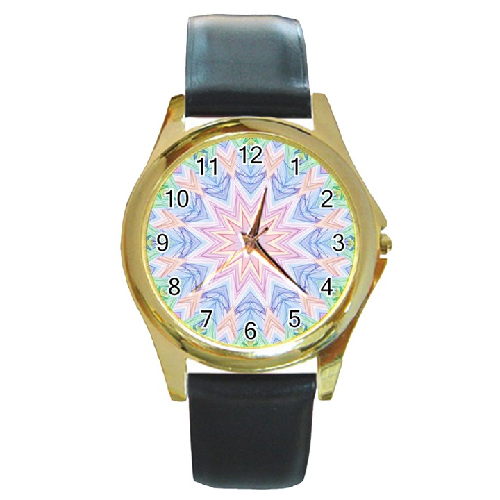 Soft Rainbow Star Mandala Round Leather Watch (Gold Rim)