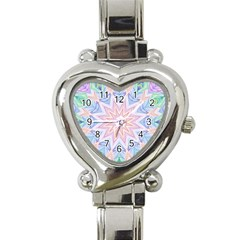 Soft Rainbow Star Mandala Heart Italian Charm Watch  by Zandiepants