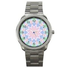 Soft Rainbow Star Mandala Sport Metal Watch by Zandiepants