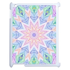 Soft Rainbow Star Mandala Apple Ipad 2 Case (white) by Zandiepants