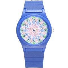 Soft Rainbow Star Mandala Plastic Sport Watch (small) by Zandiepants