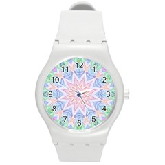 Soft Rainbow Star Mandala Plastic Sport Watch (medium) by Zandiepants