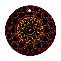 Yellow And Red Mandala Round Ornament by Zandiepants