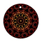 Yellow And Red Mandala Round Ornament Front