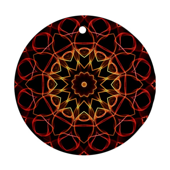 Yellow And Red Mandala Round Ornament