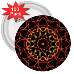 Yellow And Red Mandala 3  Button (100 pack)