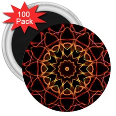 Yellow And Red Mandala 3  Button Magnet (100 Pack) by Zandiepants