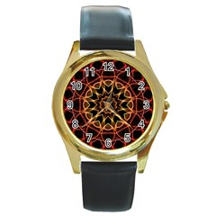 Yellow And Red Mandala Round Leather Watch (gold Rim)