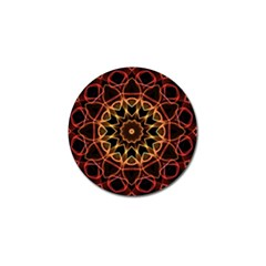 Yellow And Red Mandala Golf Ball Marker 4 Pack by Zandiepants