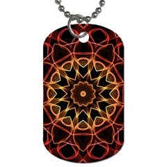 Yellow And Red Mandala Dog Tag (two Sided)  by Zandiepants