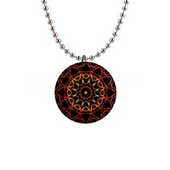 Yellow And Red Mandala Button Necklace by Zandiepants