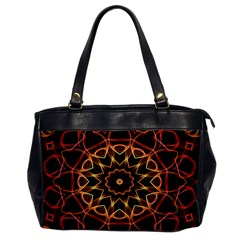 Yellow And Red Mandala Oversize Office Handbag (one Side)