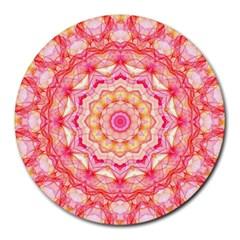 Yellow Pink Romance 8  Mouse Pad (round) by Zandiepants