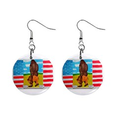 Big Foot,bison U,s,a, Flag Mini Button Earrings by creationtruth