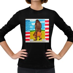Big Foot,bison U,s,a, Flag Women s Long Sleeve T Shirt (dark Colored) by creationtruth