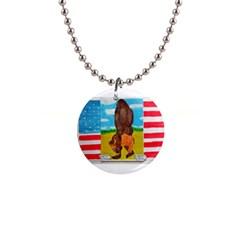 Big Foot,bison U,s,a, Flag Button Necklace